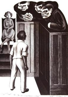 "John Wilson's 1951 lithograph ""The Trial."""